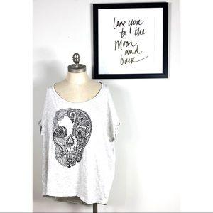 Torrid top 2x skull grunge blouse paisley floral
